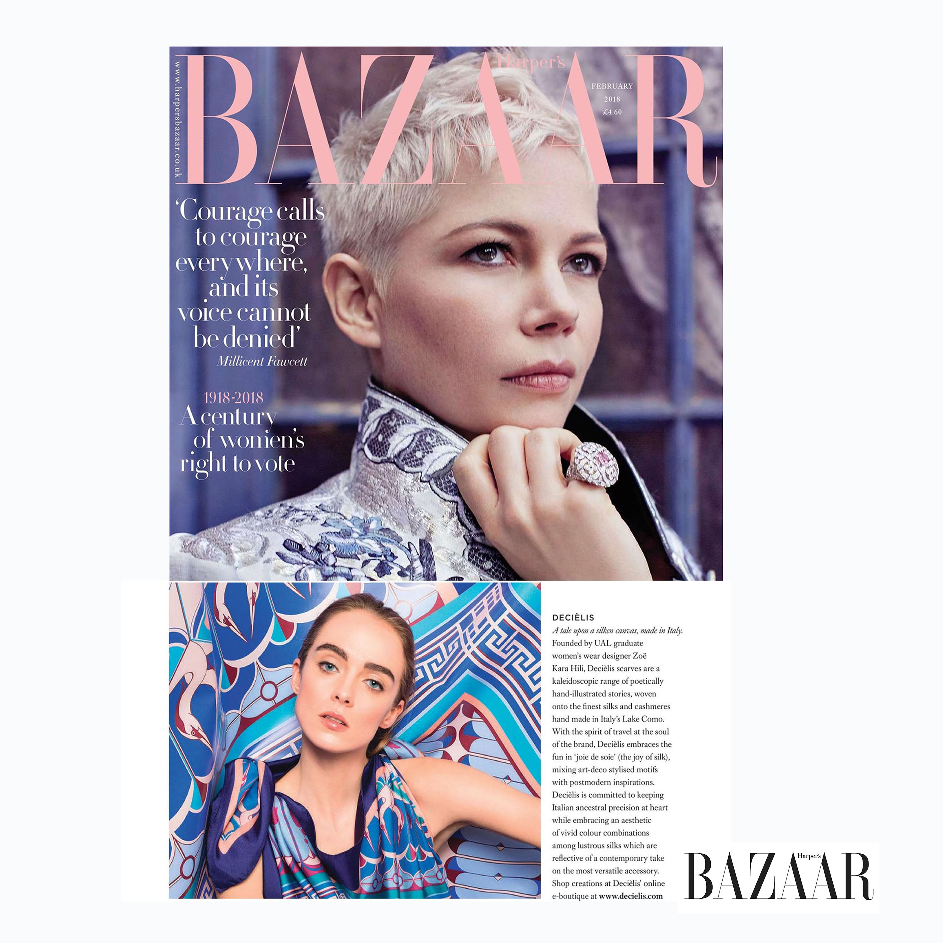 Harpers Bazaar UK feature Decièlis in February 2018 issue